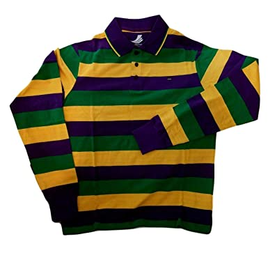 0a2b5ebc0db Image Unavailable. Image not available for. Color: Adult XLarge XL Mardi  Gras Rugby Stripe Purple Green Yellow Long SLV Shirt