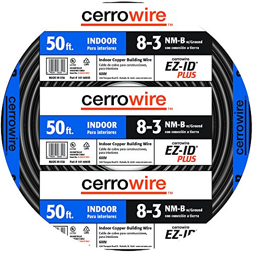 Cerrowire 147-4003B 50-Feet 8/3 NM-B Stranded with Ground Wire, Black by Cerrowire