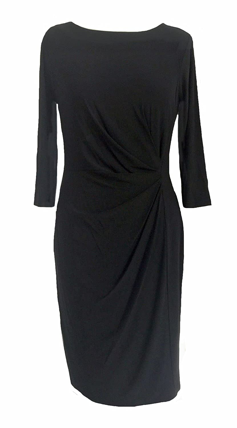 Ladies Black Ruched Gathered Side Slinky Bodycon Dress