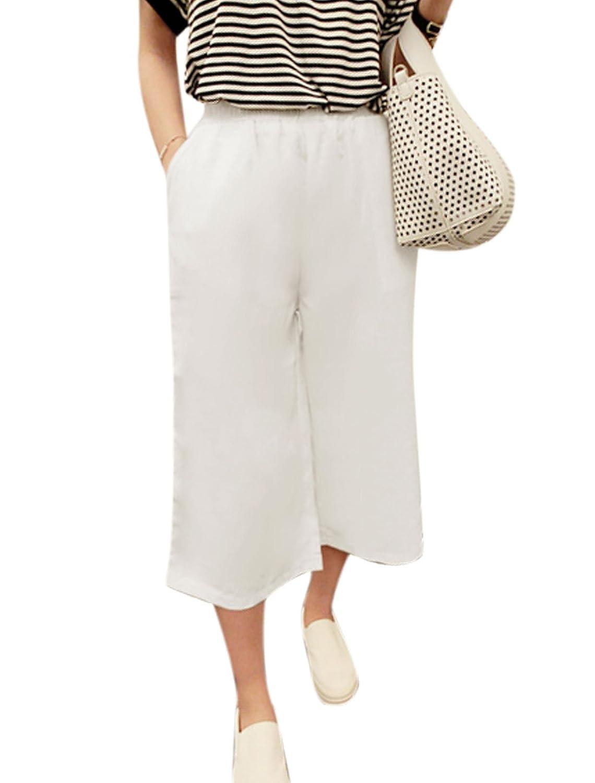 Woman Elastic Waist Mid Rise Slant Pockets Side Wide Leg Pants