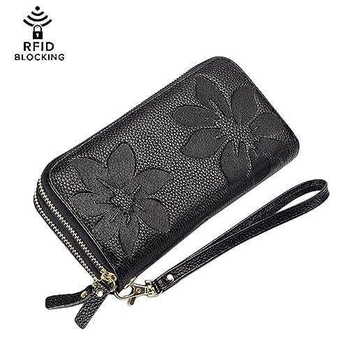 Women s Kapok Double Zipper Wallet-Welegant Leather Organizer Clutch  Wristlet Card Case Passport Holder Pouch f92aebb1d15