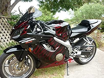 Amazoncom Black Wred Flame Injection Fairing Kit For 2001 2002
