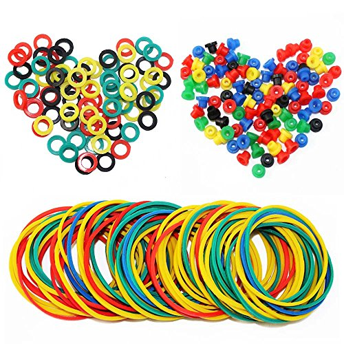 ITATOO® Colorful Tattoo Grommets Nipples O Ring and Rubber Bands 300 Pcs ()