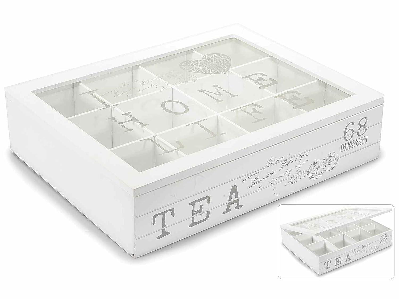 Scatola porta bustine del tè in legno e vetro con dodici scomparti import