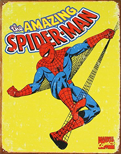 Spider-Man Marvel Comics Distressed Retro Vintage Tin Sign