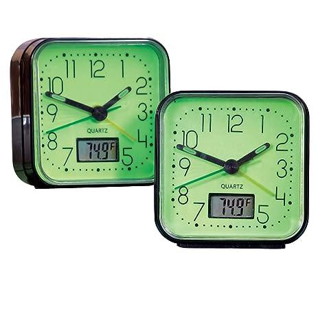 Amazoncom Glow In The Dark Alarm Clocks 2 Pc Black Home