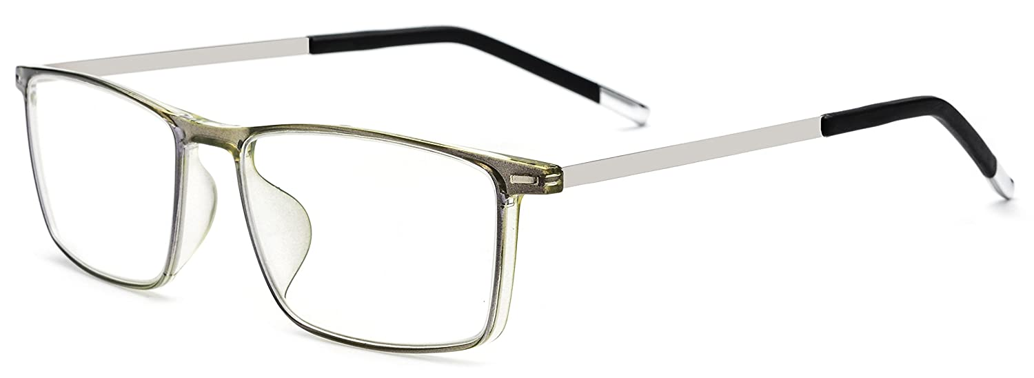 e566a9c5cb Amazon.com  HEPIDEM Men Titanium Alloy TR90 Square Optical Prescription  Glasses Frame Eyewear 523 (Green Silver)  Clothing