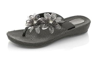25011a276d67 Ladies Womens Jelly Flower Flat Low Wedge Summer Beach Evening Toe Post  Flip Flops Shoes Sandals