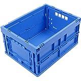 CAJA PLEGABLE 20L, caja plegable de plastico, pequeña caja de transporte, cesta de la compra, 40x30x22 cm, azul