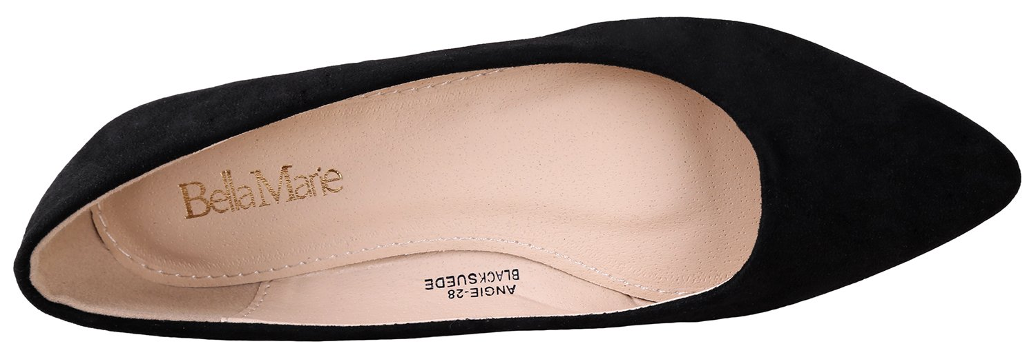 Bella Marie BellaMarie Angie-28 Women's Classic Pointy Toe Ballet Flat Shoes Black Suede 9 B(M) US by Bella Marie (Image #4)
