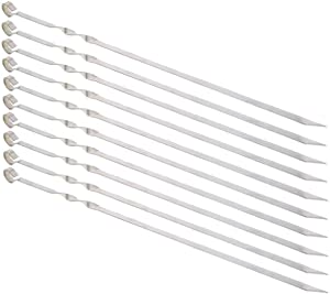"Kitchen Royale Barbeque Skewers 14"" Stainless Steel Kabob BBQ Skewers 7/20 Flat Metal Grilling Skewers Set, Reusable BBQ Sticks (Set of 10 and 1 Storage Bag)"