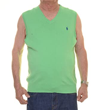 Polo Ralph Lauren Hombre Pima V-Neck chaleco - Verde - S: Amazon ...