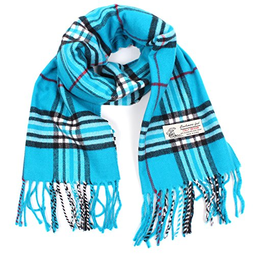 Plaid Cashmere Feel Classic Soft Luxurious Winter Scarf For Men Women (Sky Blue) (Plaid Scarf Blue)