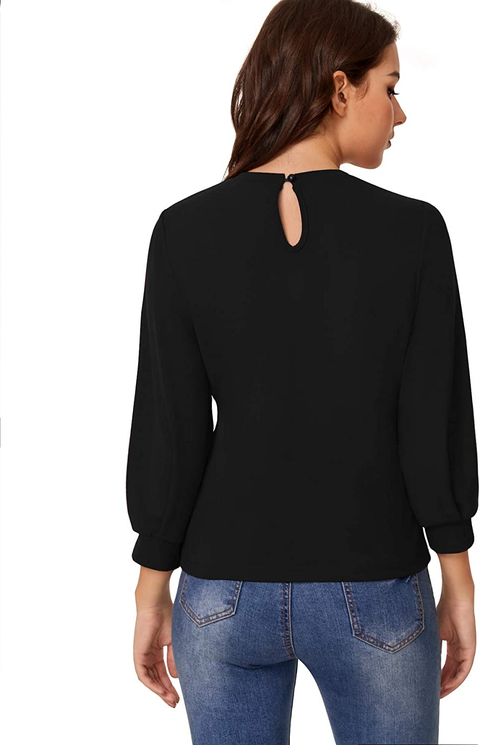 SheIn Womens Puff Sleeve Casual Solid Top Pullover Keyhole Back Blouse