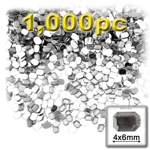 長方形の八角形Craftsコンセント1000-pieceアクリルアルミ箔フラットバックラインストーン、4by 6mm、クリアの商品画像