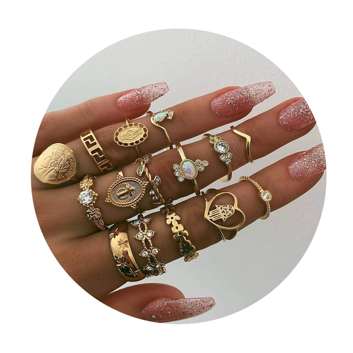 10-15PCS Bohemian Crystal Joint Midi Knuckle Stacking Ring Sets,Retro Gem Finger Rings Sets Comfort Fit Size 5 to 9 (D:15pcs-gold) by Is Never Enough