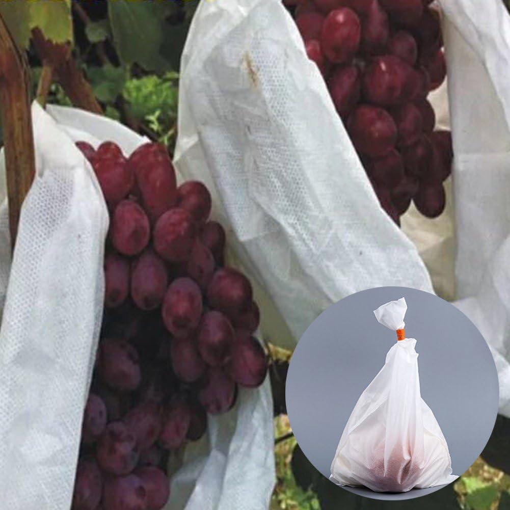 Bolsas protectoras para frutas, malla para el control de moscas, insectos y pájaros, blancas, para tus cultivos, 50 unidades, para el jardín 25*32cm blanco