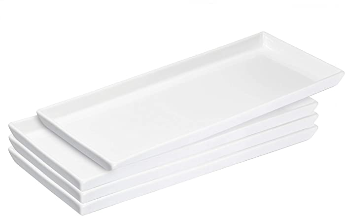 "Bruntmor Porcelain Platter Trays – High-Grade Porcelain, Safe for Dishwasher, Microwave, and Freezer, 14"" X 6"" Serving Dish Plate Tray Set of 4"
