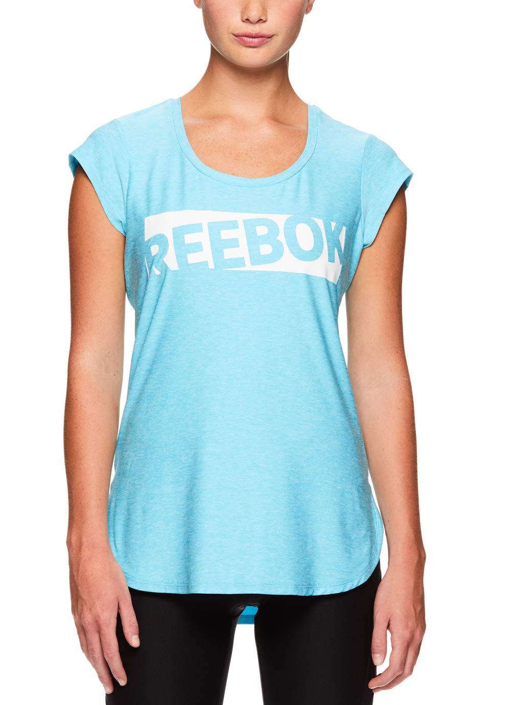 Reebok Women's Legend Performance Top Short Sleeve T-Shirt - Blue Atoll Heather, Extra Small by Reebok