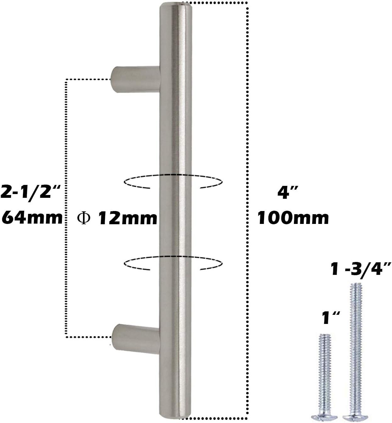 Gobrico GB201HSS64 Satin Nickle 64mm Cabinet Pull Handle for Furniture Drawer Cupboard Dresser T-bar 10 Pack