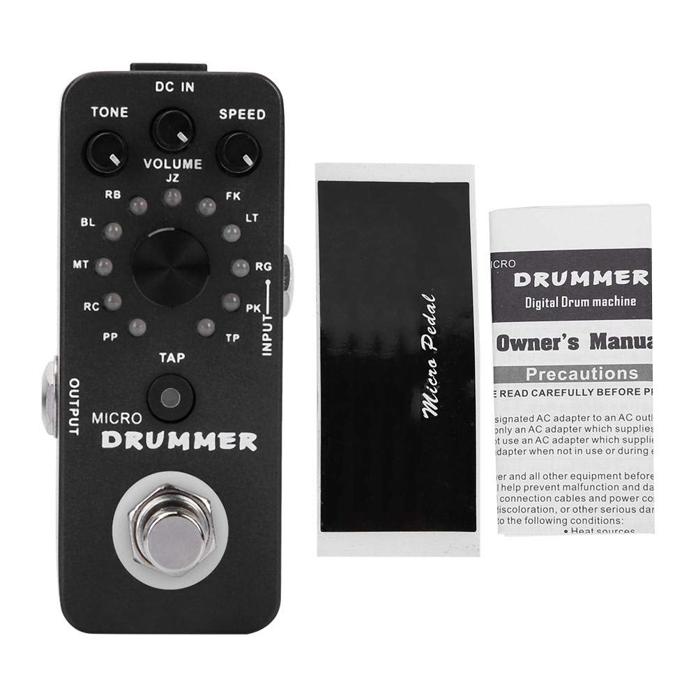 Micro Drummer, Digital Drum Machine Pedal,Portable Practical Durable Tap Tempo Control Micro Drummer Digital Drum Machine Effect Pedal by RiToEasysports