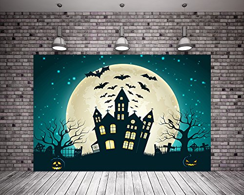 Kate 7x5ft Hallowen Photography Background Night Moon House for Halloween Party Backdrop Photos]()