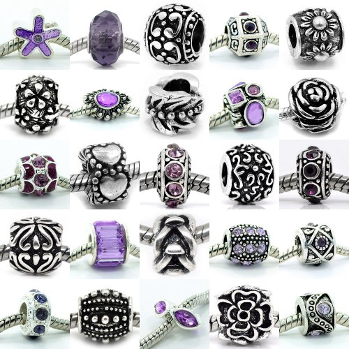 Ten (10) of Assorted Crystal Rhinestone and Silver Spacers for Charms Bracelets (Purple) - Crystal Flower Slide Charm