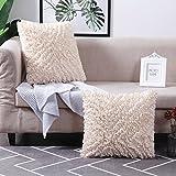 MoMA Decorative Throw Pillow Covers (Set of 2) - Pillow Cover Cushion Cover - Off White Cream Throw Pillow Cover - Decorative Sofa Throw Pillow Cover - Square Decorative Pillowcase - Cream - 18' x 18'