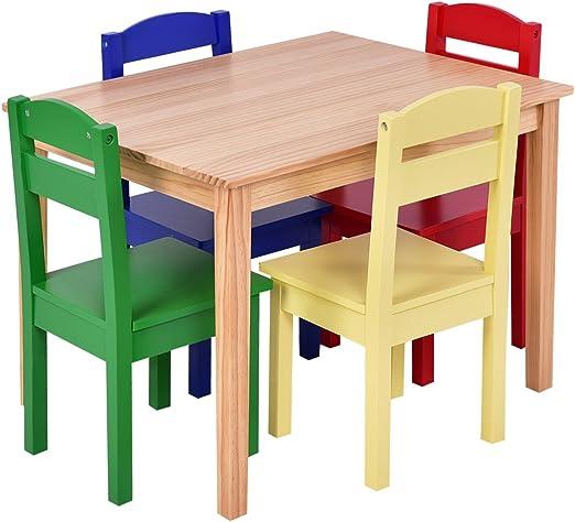 HAPPYGRILL Juego de Mesa y sillas para niños Juego de Mesa y 4 ...