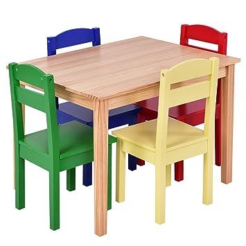 Blitzzauber24 Mesa con 5 Silla Todo en Madera,mesas y sillas ...
