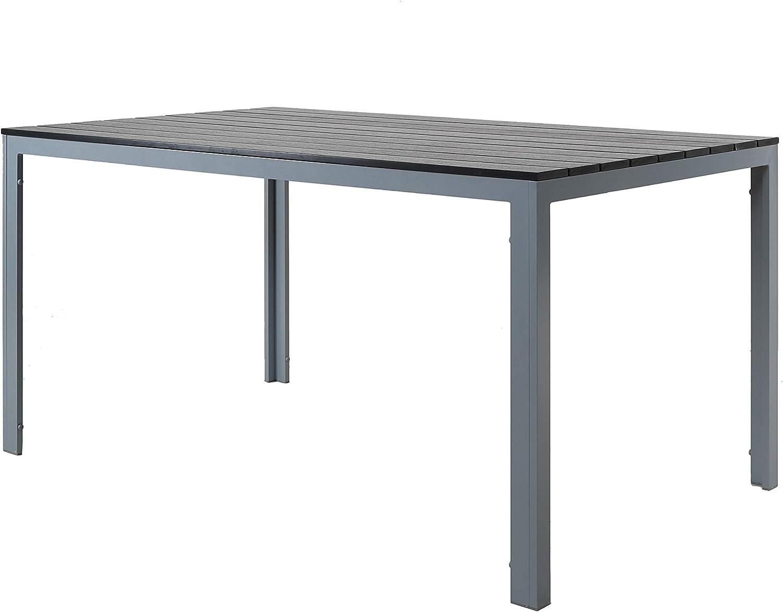 Chicreat - Mesa de comedor de aluminio y madera sintética para jardín, Color Negro/Plateado , 150 x 90cm