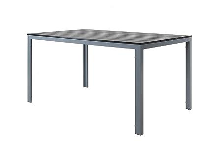 Chicreat - Mesa de comedor de aluminio y madera sintética para jardín, 150 x 90 cm (gris y plateado)