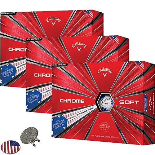 Callaway Golf 2018 Chrome Soft Truvis Stars Stripes Golf Balls (3 Dozens) (Limited Edition) + 1 Custom Ball Marker Clip Set (US Flag) ()