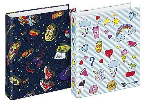 Veloflex 1151993 School Binder A5 Patch 2 D-Ring Mechanism 25 mm, 2 Assorted Designs