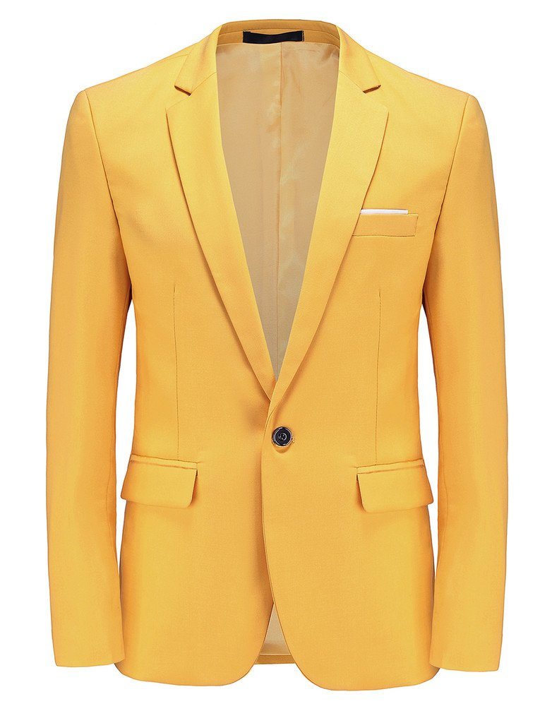 MOGU Mens Slim Fit One Button Casual Blazer Jacket US Size 42 (Label Asian Size 5XL) Yellow