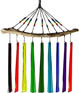 product image for American Made Fused Glass Windchime - Rainbow Colors, 9-Chime Version