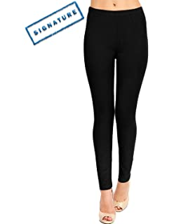VIV Collection Full Length Womens Solid Color Brushed Leggings (XS ...