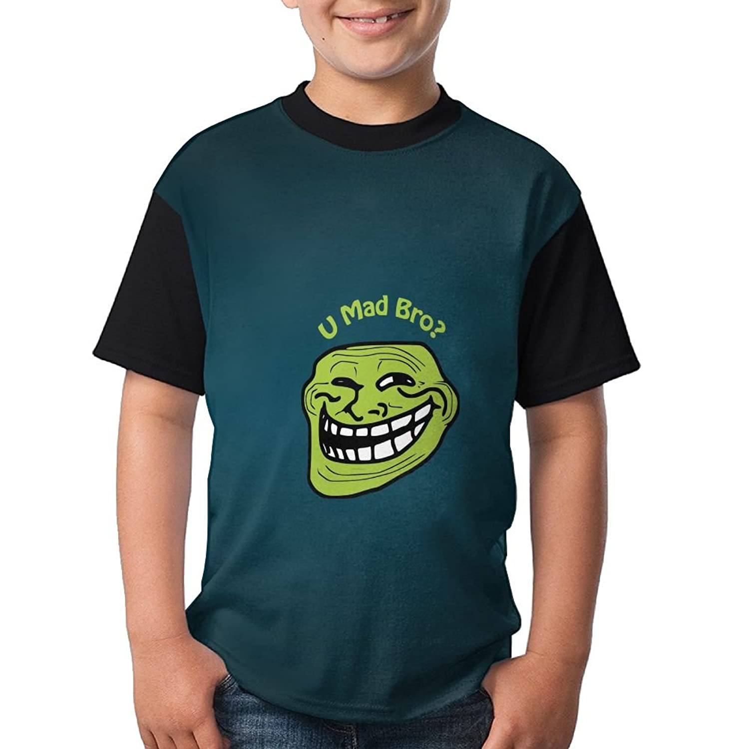 Dnim T Shirts Boys T Shirt Trollface U Mad Bro Hip Hop Black Top