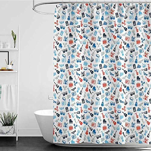 Tim1Beve Kids Bathroom Shower Curtain,Jazz Music Retro Style Collection of Various Different Instrument Icons Band Orchestra,Single stall Shower Curtain,W72x84L Blue Red Grey