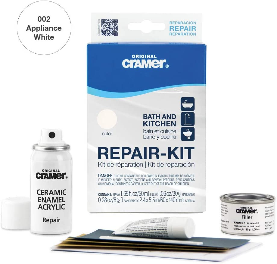 Cramer 7US Tub Repair-Kit Enamel Acrylic Porcelain Ceramic – Plumbing  White – Bathtub, Shower Tray, Basin and Sink Refinishing