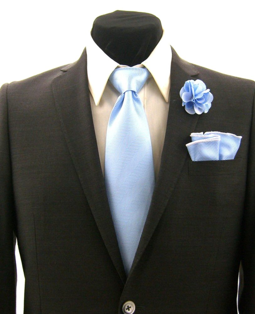 Men's Light Blue Stripe Necktie Tie, Round Pocket Square and Lapel Pin Box Set