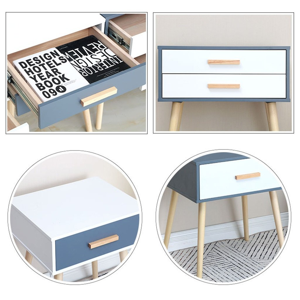 LQQGXLBedside Table Mini lockers by The Bed. Small Apartment Corner Counter Light Table Flower Pot Table Decoration Table Wooden Drawer Small Side Table (Color : C, Size : 423554CM) by LQQGXL