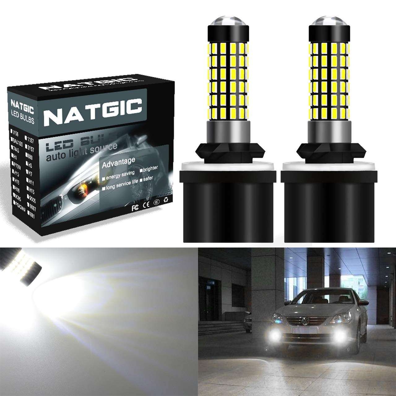 NGCAT 2PCS 900 Lumens 3014SMD 78-EX Chipsets H1 LED Bulbs with Lens Projector Used for Fog Light Daytime Running Light Automotive Driving Lamp, Xenon White 6500K, 12-24V