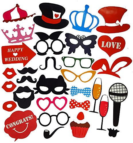 [31pcs Colorful Photo Booth Props,Panel Hen Party Accessories for Wedding Baby Anniversary Birthday Newborn Party Shower] (Hen Night Costume Accessories)