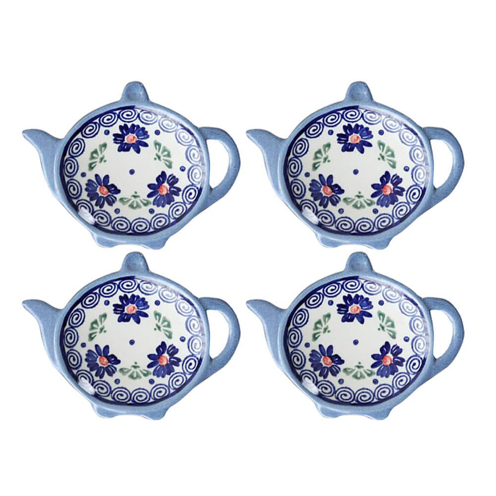 Wiza Ceramic Tea Bag Coasters, Teabag Caddy Holder Plate Tidy, Polish Pottery, 4 inch, Set of 4 by Wiza
