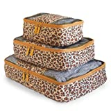 Travel Packing Cubes Set (3 Piece), Ideal for Travel and Closet Organizer (Leopard) by Apropos