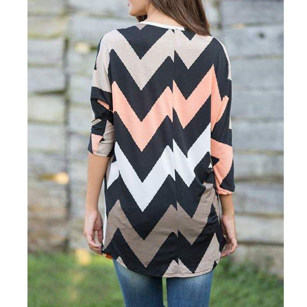 ENJOYNIGHT Women\'s Casual 3/4 Sleeve Print Tunic Blouses Tops (X-large, Type1)