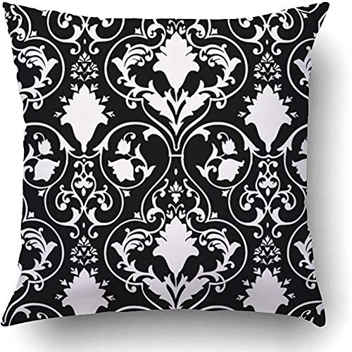 Starowas Throw Pillow Covers Black Fleur Antique Scroll White Lis LYS Damask Victorian Baroque Abstract Rococo Polyester 20 x 20 Inch Square Hidden Zipper Decorative Pillowcase
