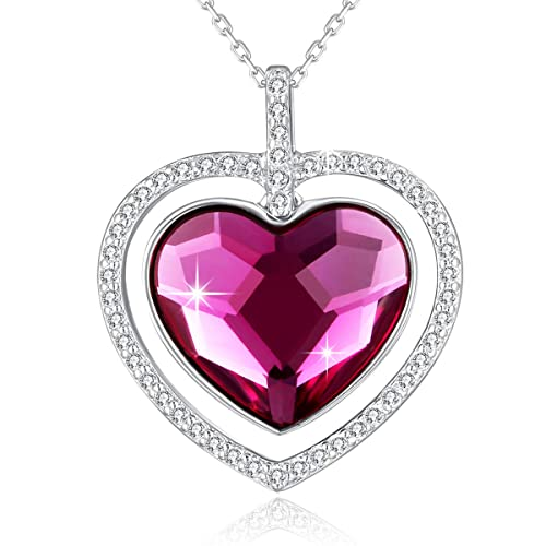 fast color convenience goods suitable for men/women SUE'S SECRET Love Heart Shaped Pendant Necklace Made with Swarovski  Crystal, Woman Purple/Ocean Blue Heart Crystal Necklace,Heart Necklace