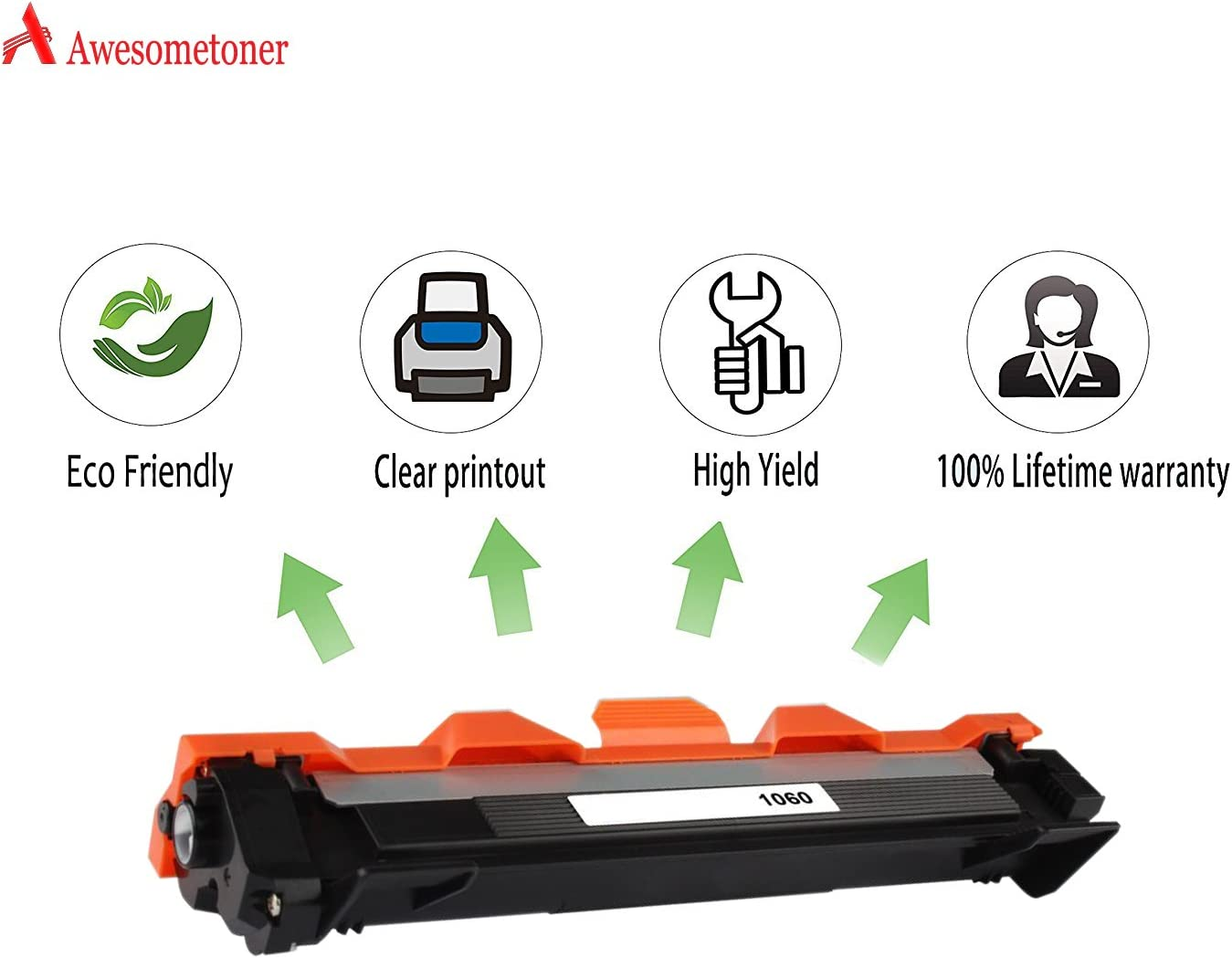 1112 Black, 5-Pack Awesometoner Compatible Toner Cartridge Replacement for Brother TN1060 use with HL-1110